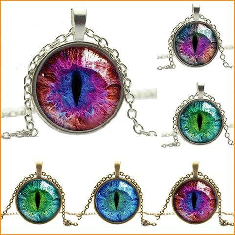 Colored Cat Eye Glass Necklace