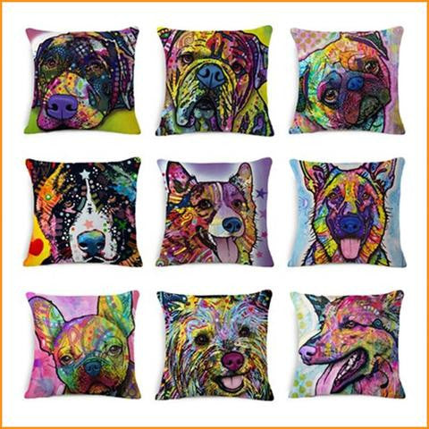 Colorful Dog Pillow Cushion Cover