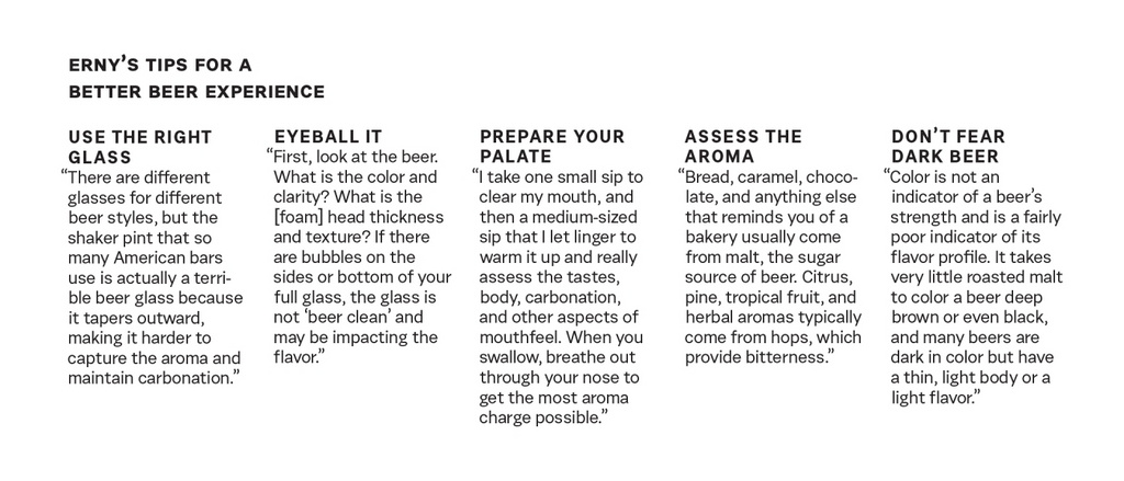 An infographic of Erny's tips for a better beer experience.