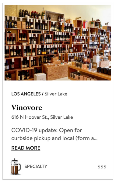 Vinovore recommended in the Provisions category