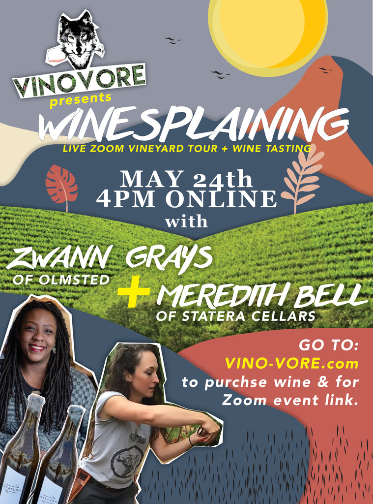 Winesplaining vineyard tour and winetasting event poster for May 24th.