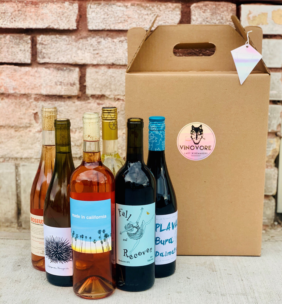 A selection of Vinovore wines and a shipping box