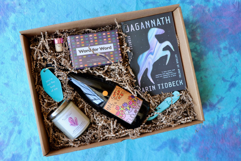 Wine and goodies in a custom Vinovore Beast Box gift box.