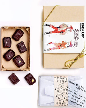 No matter where you are or who you're with, this chocolate truffle set will up the levels of deliciousness and bliss.  The set includes a box of 8 handmade chocolate truffles - think creamy, velvety and utter flavor delight. Organic, bean-to-bar, vegan friendly, chocolate aficionado friendly.