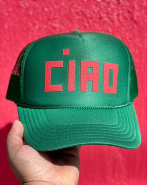 Los Angeles designer Clare V's nylon and mesh trucker hat is the perfect unisex accessory. Featuring a flat bill and long front panel, this ready-for-fun-in-the-sun hat is printed with the word Ciao.