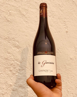 100% Cabernet Franc Chinon, France.  Woman winemaker - Annick Jourdan. All natural. Serve w a slight chill. Smokey cherries. Light leather. Classic gem, good price. Fun fruit pop! Adult capri - sun but dry. Savory + earthy. Forest shrooms.