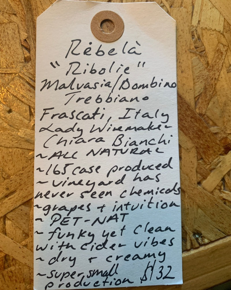 Malvasia, Trebbiano, Bombino, Bellone. Frascati, Italy.  Woman winemaker - Chiara Bianchi. All natural. PET-NAT 165 cases made!! Vineyard has never seen chemicals. Funky yet clean with cider vibes. Dry & creamy. Super small production.