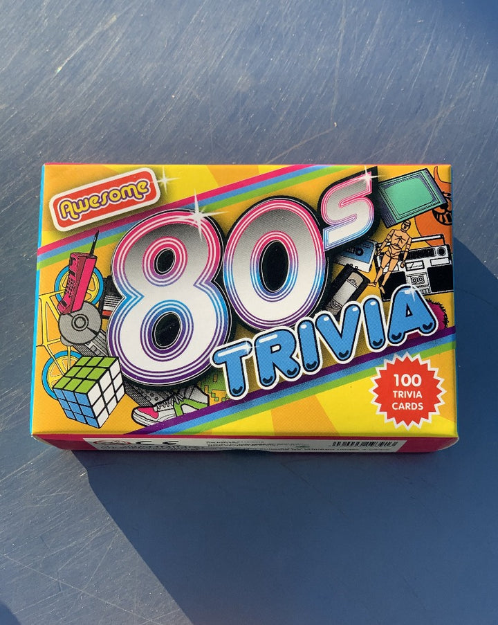 Pull on your leg warmers, back comb your hair and get ready to test your knowledge of the outrageous decade we all secretly love, with our set of 80's Trivia Cards! Test your friends on topics such as the music, fashion, films and TV of the most talked about decade!