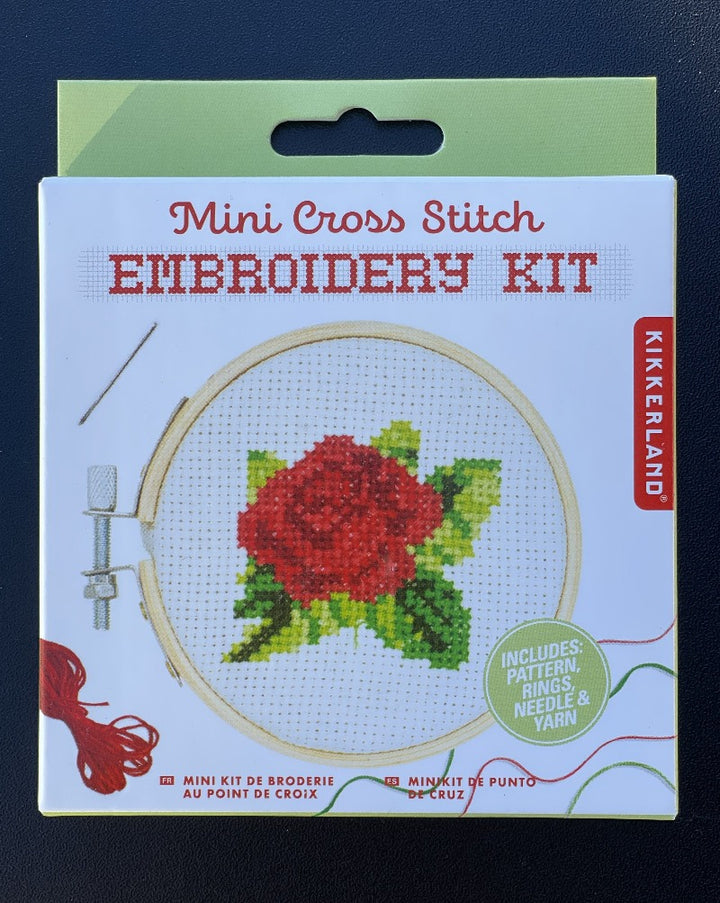 "Get crafty with this adorable rose-themed mini cross stitch kit. This embroidery kit includes a 3"" bamboo hoop frame, a 4"" canvas, multiple color threads, a needle and a pattern guide."