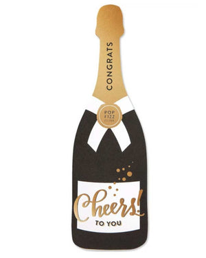 Congrats! Cheers to you champagne bottle die cut greeting card. Blank in inside.