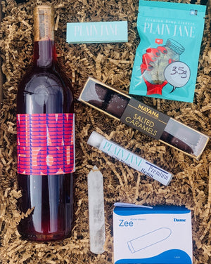 This election has been ROUGH but maybe we can tamp down some of the stress with this box just for you. Simply choose your wine color, and we will do the rest!  This box includes a hemp C B D Blunt, premium hemp flowers and rolling papers from Plain Jane, Mayana salted caramels, Dame bullet vibrator, and a Crystal wand.