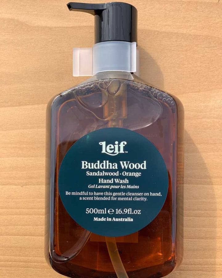 Leif - Buddha Wood - Sandalwood and Orange hand wash. Be mindful to have this gentle cleanser on hand, a scent blended for mental clarity. Made in Australia.