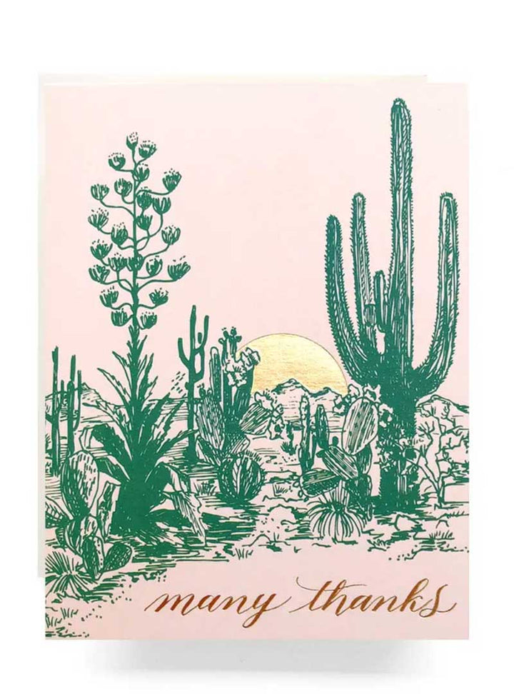 Many Thanks Desert Cactus Greeting Card