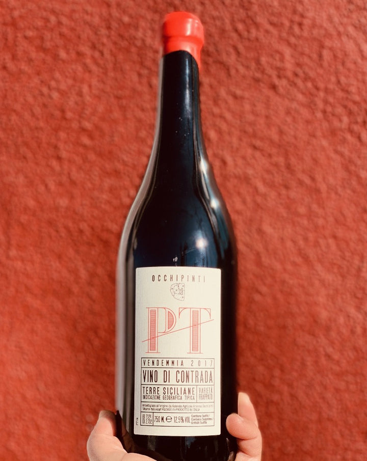 100% Frappato. Sicily, Italy.  Lady winemaker - Arianna Occhipinti. All Natural. Extremely rare and special single vineyard Frappatos. PT- fruity & slick.