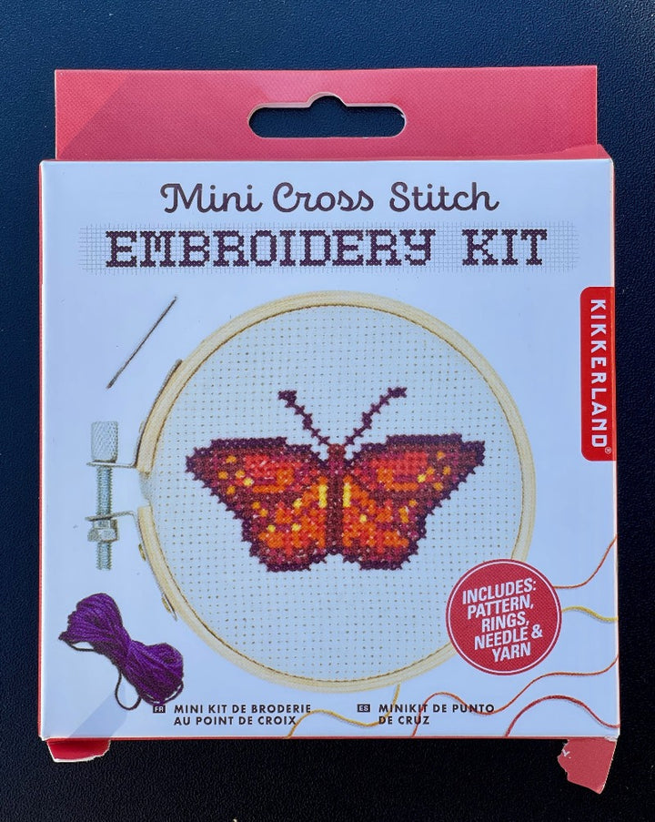 "Get crafty with this adorable butterfly-themed mini cross stitch. This embroidery kit includes a 3"" bamboo hoop frame, a 4"" canvas, multiple color threads, a needle and a pattern guide."