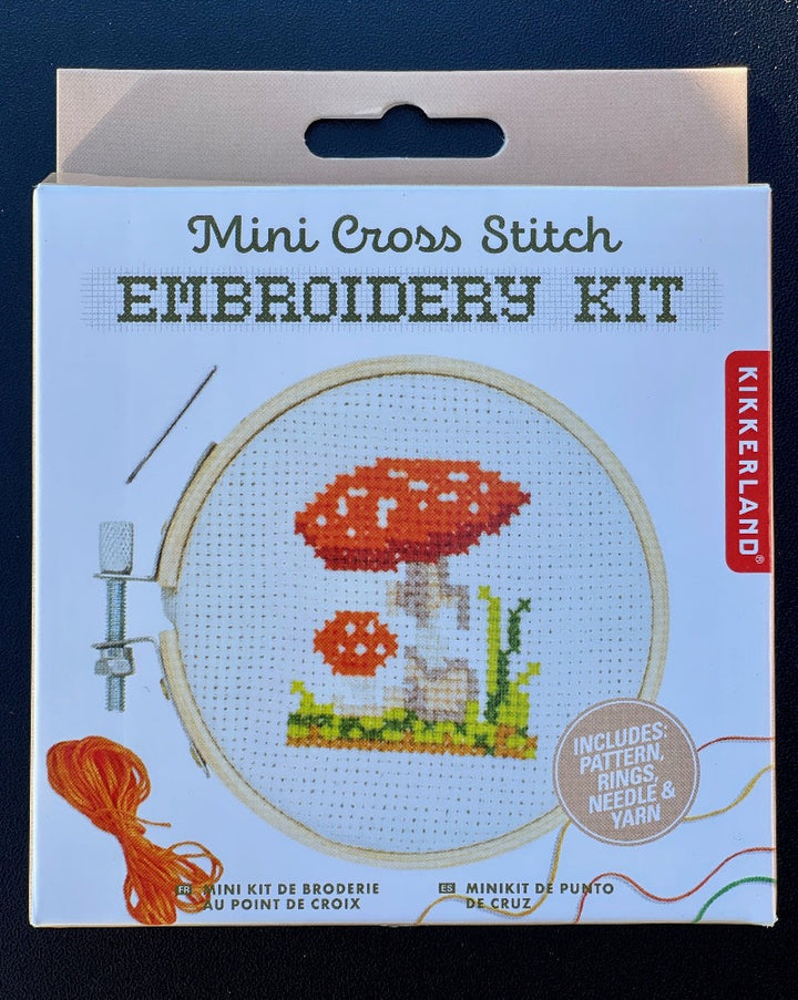 "Get crafty with this adorable mushroom-themed mini cross stitch. This embroidery kit includes a 3"" bamboo hoop frame, a 4"" canvas, multiple color threads, a needle and a pattern guide."