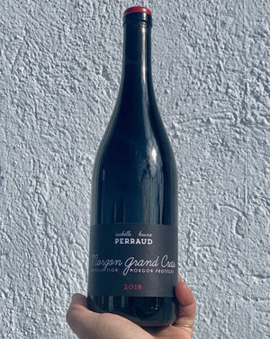 100% Gamay Beaujolais, France  Lady winemaker - Isabelle Perraud. All Natural. Chillable red. Semi-Carbonic. New leather + cherry tobacco. Savory tingles. Cocao nibs and goji berries. Pink peppercorn kisses.