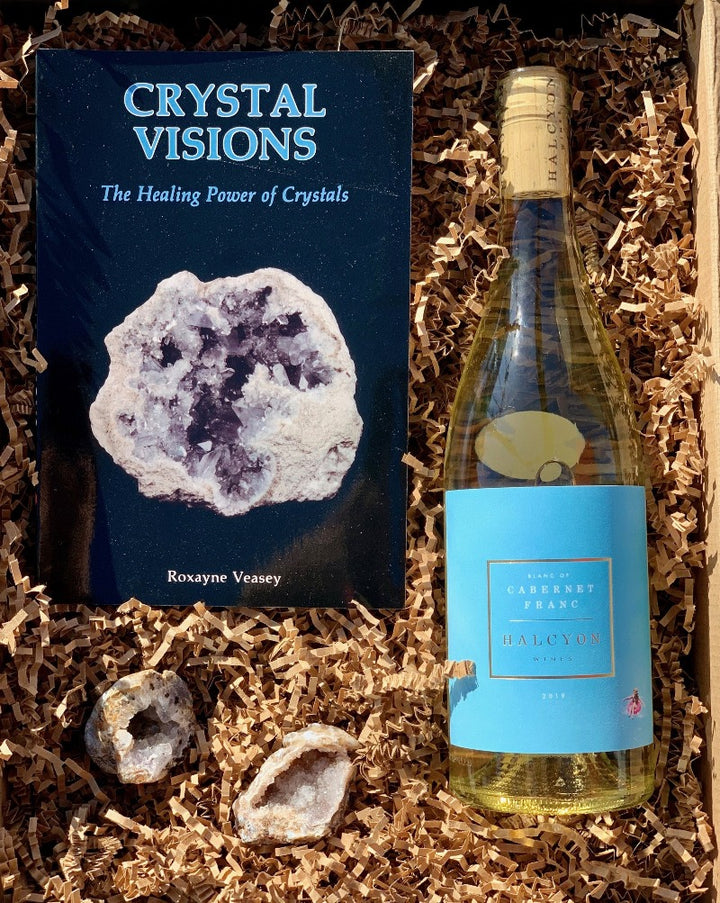 Explore the healing power of crystals... and wine! Simply choose your wine color, and we will do the rest!  This box includes the Crystal Visions book, two geode crystals and a wines color of your choice!