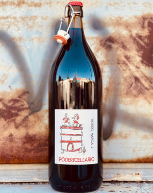 60% Freisa. 20% Dolcetto. 20% Sangiovese. Langhe, Italy.  Woman winemaker - Cinzia Cellario. All natural. 2 Liters!!! (3 bottles) Chillable red. LIMITED Superlight and fresh and juicy. Floral vibes like a walk in a spring meadow. Crushed red fruit.