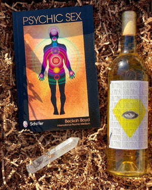 Reach new heights within yourself and your partner! Simply choose your wine color, and we will do the rest!  This box includes the Psychic Sex book, Quartz crystal massage wand and a wine color of your choice!  ***Wine shown is for example only.