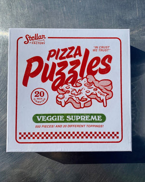 Pizza Puzzles bring delicious art and a fun jigsaw puzzle experience to your table. Our pizzas are silly and fun to look at, but more importantly, they're puzzles you can build with your friends and family. A single slice is just one of eight smaller puzzles in the box - making it perfect for cooperative puzzling. As you complete each smaller puzzle, you can assemble the entire pizza by slice