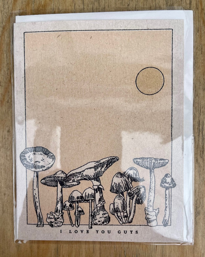 Mushroom love greeting card. Blank inside.