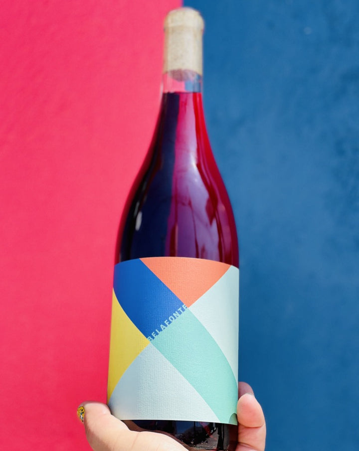 100% Mission. Pasadena, California.  Woman winemaker - Kate Vourvoulis. All natural. Chillable red. Carbonic maceration. Crushable adult juice box vibes. Like a dusty cranberry rodeo ride bucking herbs + fruit into your mouth.