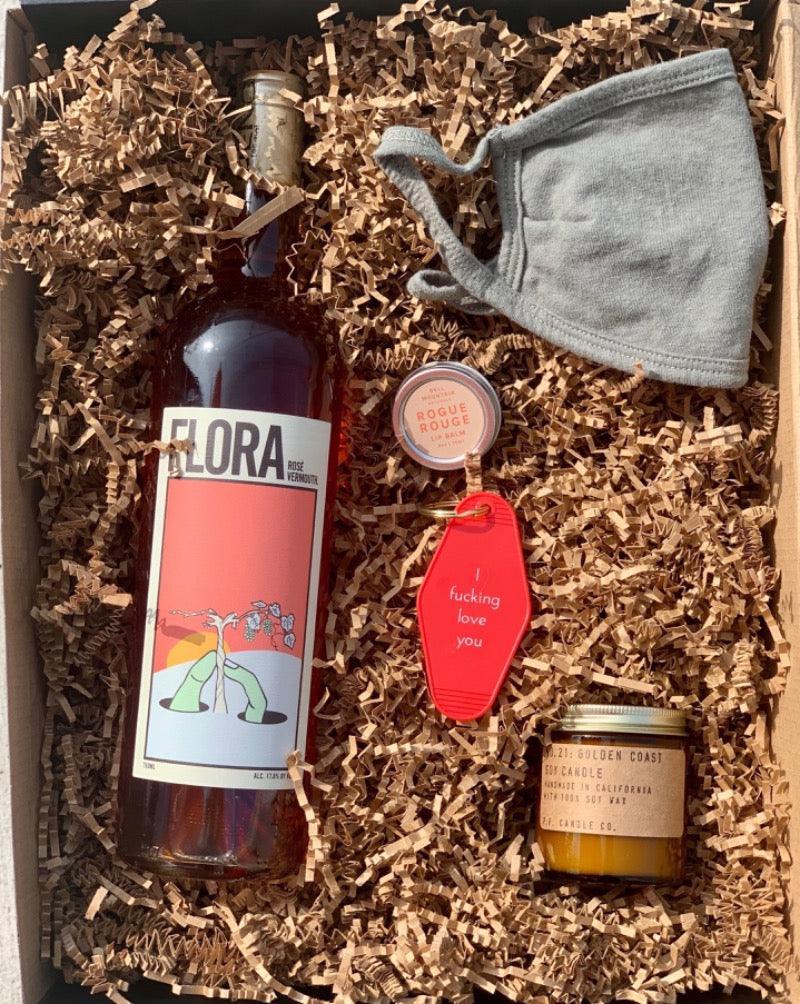 We're so excited to have  Caroline from @loveandloathingla curate a beast box for us!  @loveandloathingla picked out some of her favorite things for this box, and we are seriously stoked to offer it. Her box includes a bottle of Flora Rose Vermouth made in LA, Organic Cotton mask made in LA, P.F Golden Coast candle made in LA, Bell Mountain lip balm and a I fucking love you key chain!