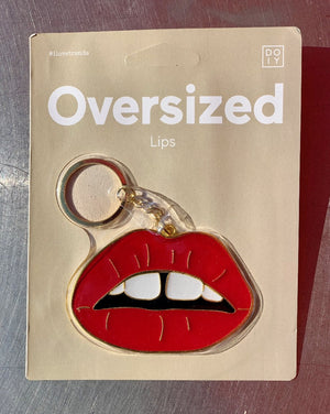 Awesome oversize keychain shaped as lips.