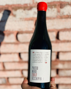100% Nero d'Avola. 500ml Sicily, Italy.  Woman winemaker - Arianna Occhipinti. All Natural. Dessert wine. Grape sun dried for 15 days. Passionate and sexy with a fresh bite like good foreplay. Special late night treat. LIMITED!