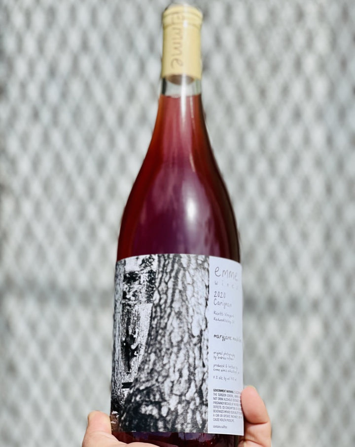 100% Carignan Mendocino, California.  Woman winemaker - Rosalind Reynolds. All natural. Chillable red. Carbonic crunch. Chewy strawberry. Starburst on the roof of your mouth. Rocky + salty minerality. Fleshy texture.