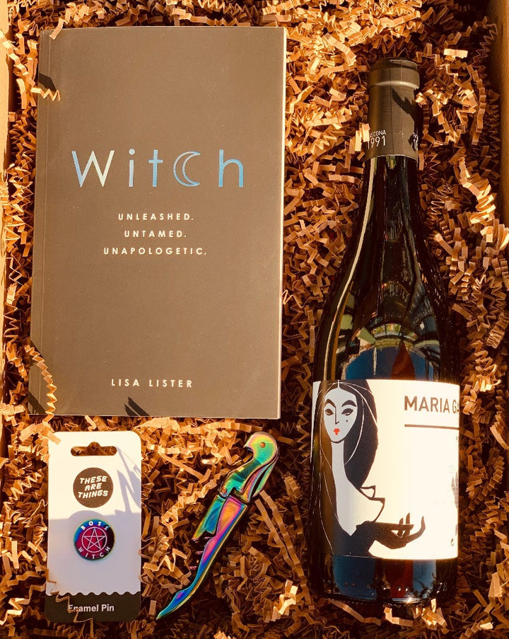 We all have a witchy woman or man in your lives, some of us have a little witch in us ourselves! This awesome box has the Witch - unleashed and untamed book, a dope boss witch pin, a matching iridescent mirage wine opener and a wine color of your choice. So, simply choose your color, and we will do the rest!  ***SOME PRODUCTS SHOWN ARE FOR EXAMPLE ONLY!