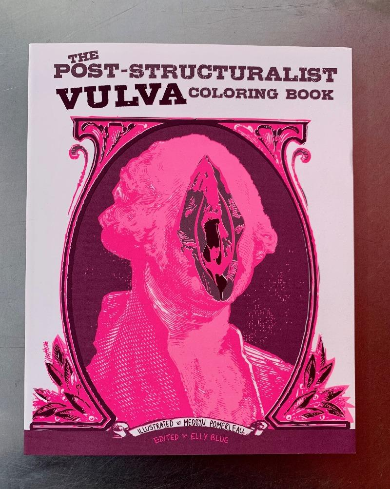 "The Post-Structuralist Vulva Coloring Book demystifies gender and interrogates your assumptions as you are drawn into its mesmerizing patterns, folds, and whorls. By overwhelming the senses with vulvas, you can easily deconstruct the meaning and very existence of this social construct we call the ""vulva"" and the instructions for living that come with it.  Quotations from post-structuralist philosophers accompany the art. Tear-out pages."