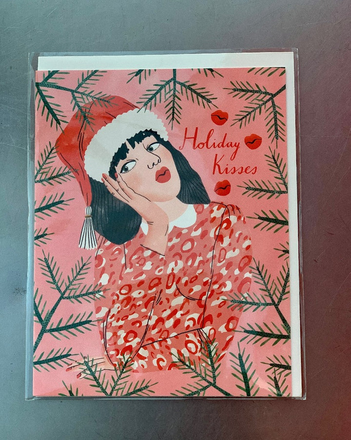 Holiday Kisses Greeting Card. Blank inside.