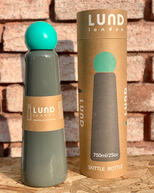 Lund London Skittle Grey and Pink Teal Wine Flask Bottle 750ml