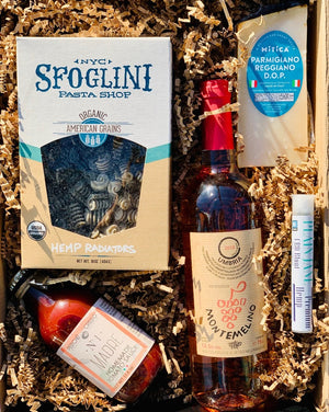 The gift of food, weed and wine is definitely always a hit! This tasty box has Apulian tomato and basil sauce made in Italy, Sfoglini organic hemp pasta, aged Italian Parmesan, a Plain Jane C B D blunt and a bottle of wine the color of your choice that we will pair with the meal! So, simply choose your color, and we will do the rest!  ***SOME PRODUCTS SHOWN ARE FOR EXAMPLE ONLY!