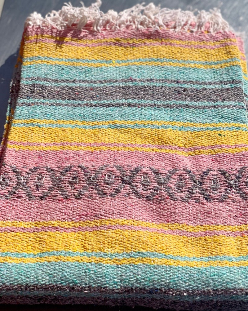 "Measure 74"" x 48"" Colors: Pink, Teal, Yellow & White Fringe detail on two ends. Soft blend of cotton, acrylic and polyester. Washes well in cold cycle and recommended to air dry. Perfect as your favorite couch or bed throw, picnics, concerts, and the beach."