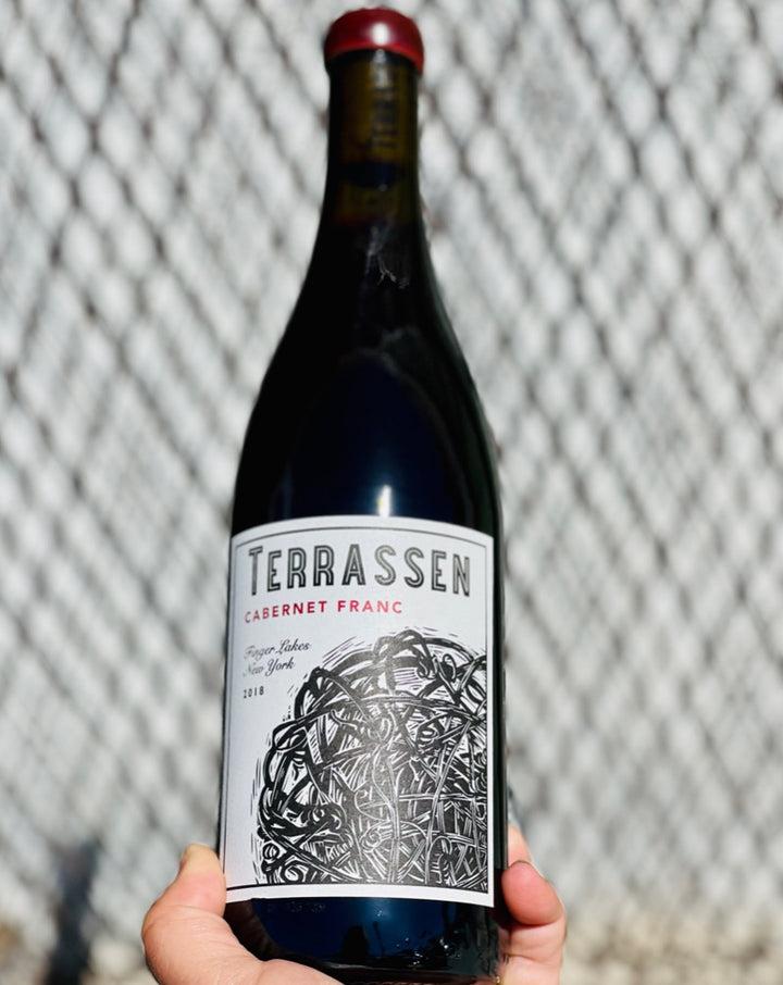 100% Cabernet Franc. Finger Lakes, New York.  Woman winemaker - Jessica Brown. All natural. Chillable red. So drinkable you might want to pour it all over your and another's naked body. Partial carbonic. Light & bright, but with some girth. Peppery spcie! Unripe cherry.