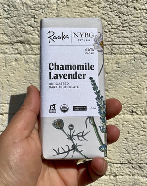 Raaka partnered the landmark New York Botanical Garden, who support living collections of more than one million plants inside their 250-acre landscape and conservatory. This bar celebrates the beauty and flavor of the plants that surround and sustain us. A percentage of each bar supports NYBG's work in plant science and conservation, horticulture and education. This gentle and floral single origin dark chocolate is infused with calming chamomile and soothing lavender.