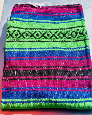 "Measure 74"" x 48"" Colors: Magenta Blue Lime Green & White Fringe detail on two ends Soft blend of cotton, acrylic and polyester Washes well in cold cycle and recommended to air dry Perfect as your favorite couch or bed throw, picnics, concerts, and the beach."