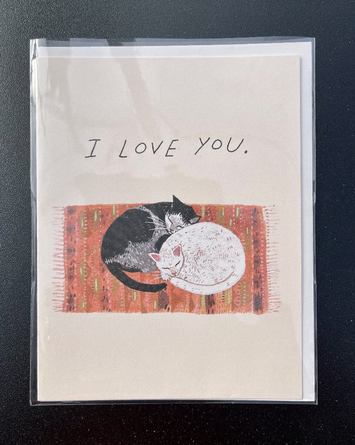 I love you, snuggling cat greeting card. Blank inside.