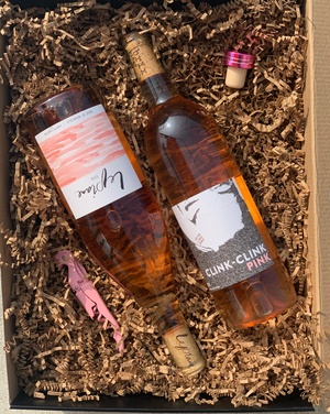 We will pick two of our most fresh and delicious rosés for you, with a cool wine opener!  ***ALL PRODUCTS SHOWN ARE EXAMPLES ONLY.