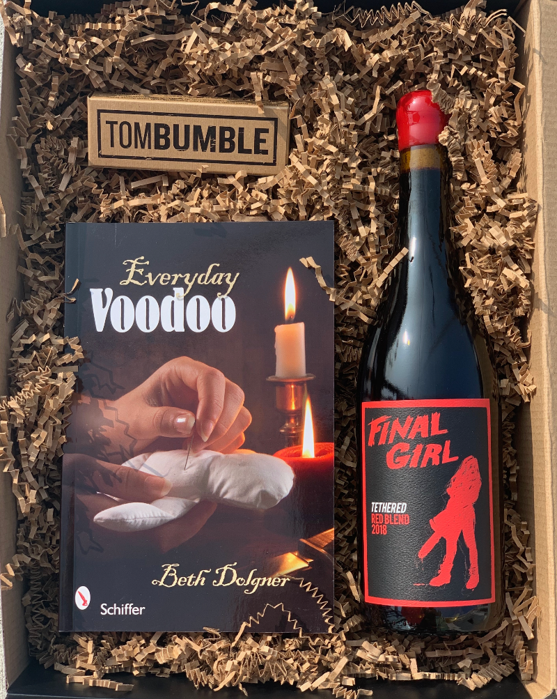 It's that time of year to get spooky! This Voodoo box can help the spirits (wine) be on your side this Hallow's Eve!  This box includes: Final Girl Tethered Red blend, Voodoo book, Tom Bumble Chocolate.