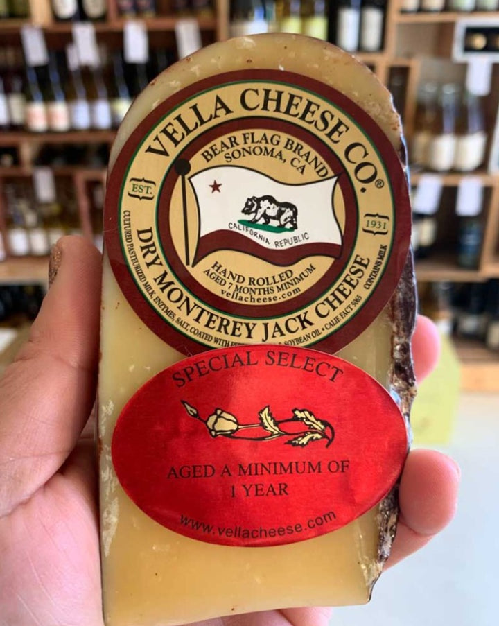Vella Cheese Co. dry Monterey Jack Cheese. Special select, aged a minimum of 1 year.