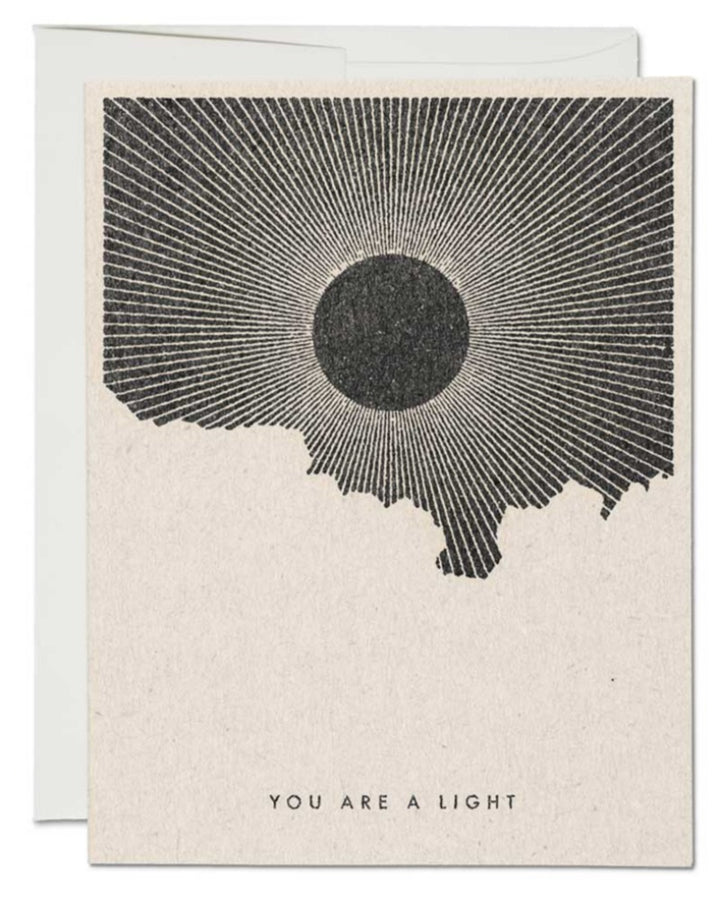 You are a light greeting card. Blank inside.