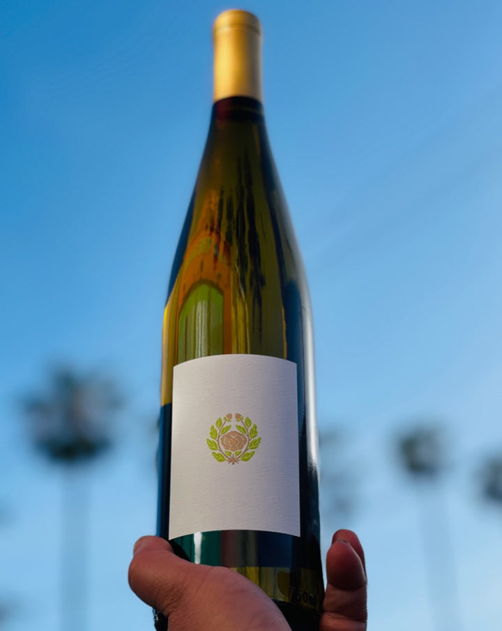 62% Riesling. 18% Pinot Noir. 14% Gewürztraminer. 6% Pinot Blanc. Whistling Ridge, Willamette, Oregon.  Woman winemaker - Megan Joy. All natural. Petrol oiliness with a guava and yellow flower pop. Jumping aromatics with a super fresh and Bone Dry-type finish.