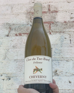 33% Sauvignon Blanc, 33% Fié Gris, 33% Chardonnay Cheverny, Loire, France.  Woman winemaker - Zoë Puzelat. All natural. Special + limited. Like a Pouilly-Fuisse and a Sancerre had a baby. Teaches of Peaches. Flinty + zesty. Peppers + pineapple. Melon + spice.
