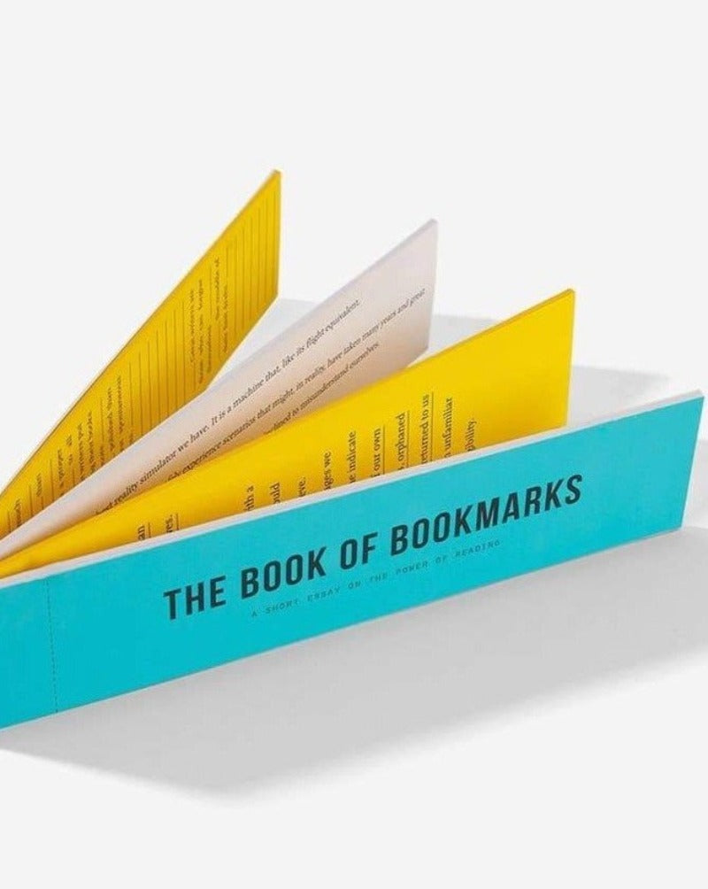 20 bookmarks assembled into a small pull-out book, on the theme of reading. Often, when we need to mark where we've got to in a book, we bend back the page or reach for an old receipt, but there's a particular pleasure in having a robust and elegant bookmark to hand.