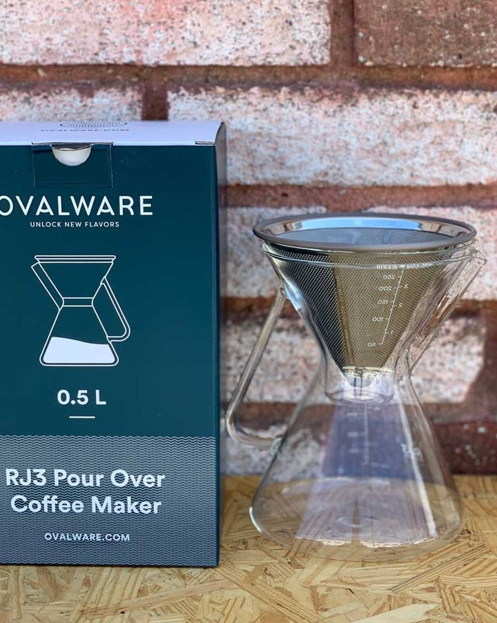 With the Ovalware rj3 pour-over coffee maker kit! Your complete coffee pour-over set includes everything you need to start brewing aromatic and flavorful coffee. A superfine high-quality 304 stainless steel mesh on the inside and a laser-cut filter on the outside. Now, you can save money, drink delicious coffee and be eco-friendly all at the same time!