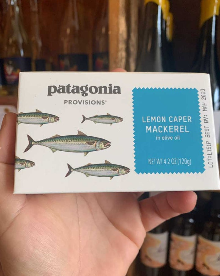 Patagonia Provisions Atlantic Mackerel is packed with organic lemon, capers and extra-virgin olive oil. Meaty yet bright-tasting, it's a great pantry staple for adding to pasta and salads.  The seasonings are on the bottom, so flip the open can onto a plate to allow them to flow evenly over the fish.  Each can contains 4.2 oz; fully cooked.